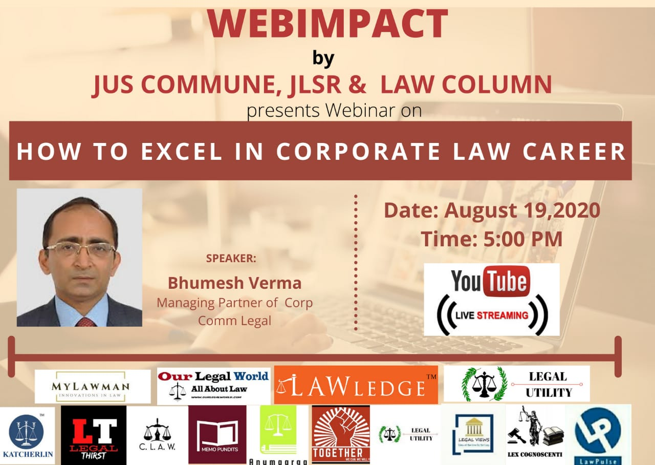"WEBIMPACT'S Webinar on ""How to excel in Corporate Law Career"""